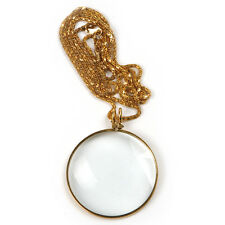 Pocket Lens 5X Magnifier Monocle Jewelry Dia 42mm w/ Gold Chain Necklace 45cm