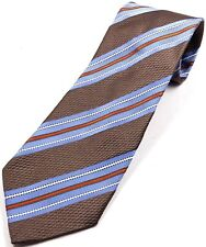 Ermenegildo Zegna Silk Men's Tie Brown with Blue & Orange Stripes Classic Style