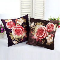 Vintage Art Flower Cotton Linen Throw Pillow Case Cushion Cover Sofa Home Decor#