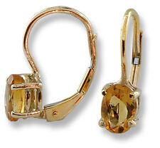 14k Yellow Gold Earrings Oval Shape Citrine Lever Back 1.00 ctw