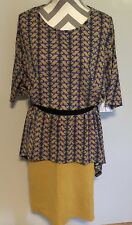 NWT Lularoe outfit Large Geometric Blue Magenta Irma XL Solid Yellow Cassie