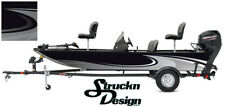Grey Swirl Graphic Abstract Design Wrap Fishing Bass Boat Vinyl Decal USA Kit