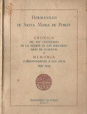 Cronica del VIII centenario de la muerte de san Bernardo Abad de Claraval y Memo
