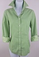 Talbot's Wrinkle Resistant Green with White Stripe Shirt Size 6