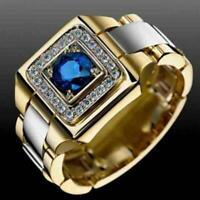 Men's Gold Filled Round Cut Natural Blue Sapphire Rings Jewelry Gift Szie6-13