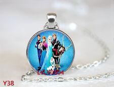 FROZEN PENDANT Cabochon Glass CHAIN NECKLACE ROYAL PRINCESS Anna & Elsa #Y038