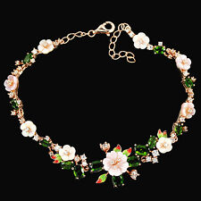 Sterling Silver 925 Rose Gold Mother of Pearl Chrome Diopside Bracelet 7.5-8.5