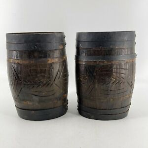Pair of Small Colonial Antique Wooden Whiskey Cask Metal Banded Wagon Barrel Keg