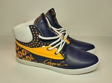Women's Azzure Sz 8 Shelly Mid Polka Casual Leather Canvas Comfort Blue/Yellow