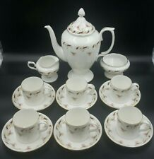 More details for vintage crown staffordshire 'wentworth' red coffee set-excellent condition