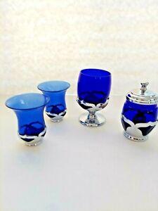 Deco Chrome Farber Cambridge Glass Cobalt Lot