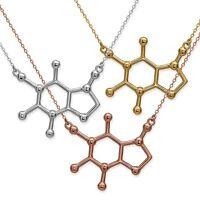 Cafeína Molécula Colgante Collar Plata de Ley 925 Oro Oro Rosa Energía