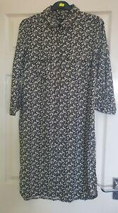 BNWOT Next Black Floral Shirt Dress Size 8