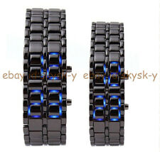 New Luxury Men's Women LED Digital Stainless Steel Lava Bracelet Sport Watches