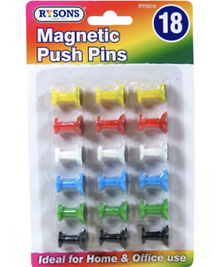 18 Pack Magnetic Pins Memo Strong Coloured Magnet Holder Notice White Board Work