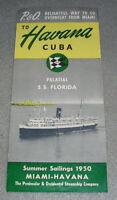 Antique Steamship Cruise Line Brochure SS Florida P&O Miami to Havana Cuba 1950