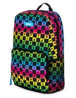 "Fortnite Amplify Black Rainbow Checkered Backpack School Bag 18"" w Laptop Sleeve"