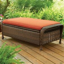 Cushioned Storage Ottoman Bench Outdoor Patio All Weather Sturdy 2 Person Seat