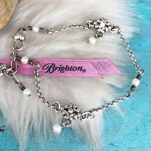 Brighton Swarovski Crystal Fleur de lis Pearl Silver Plate Anklet Ankle Bracelet