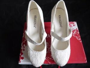 Ladies Ivory Round Toe Heeled Wedding/ Prom Shoes from Krasceva size  3- euro 36