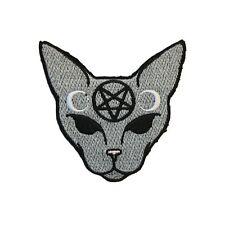 Pentagram Cat Iron On Patch Satanic Star Witchy Goth Pagan Biker Gothic Bagde Em