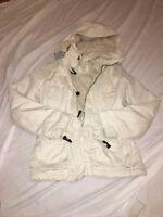 L.o.g.g. Women's/JR White utility jacket size 4 by H&M Hood Soft Faux Fur Lining