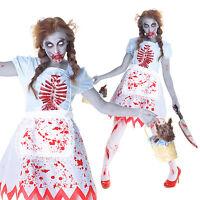 Ladies Womens Zombie Dorothy Halloween Fancy Dress Costume Un Dead Country Girl