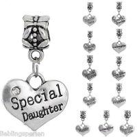 L/P 12 Mix European Spacer Dangle Perlen Beads Gravur Worte 27x16mm