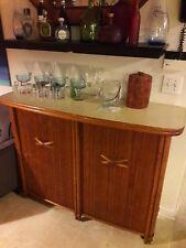 🌲 Vintage HAWAIIAN Tiki Bar Bamboo Wood Mobile Serving / Storage Cart 54x41x16