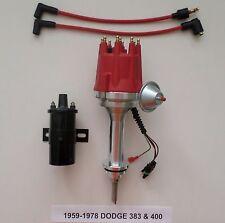 small cap BIG BLOCK DODGE 383 400 PRO SERIES RED HEI Distributor +Black 45K Coil