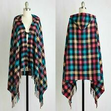 SUNSHINE SOUL Women's -OS Hooded Rainbow Plaid Fringe Cape with Toggle Clasp