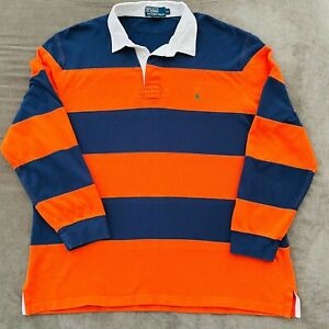 Polo Ralph Lauren Striped Rugby Polo Long Sleeve Pony Logo Men's Sz XL Pre-owned