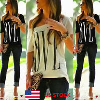 US Women Summer One Shoulder LOVE Printed Short Sleeve Tee Blouse Tops T-shirt