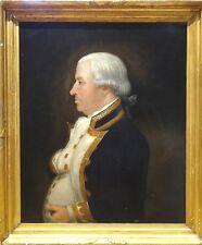 Grand 18th Siècle Marine Britannique PORTRAIT Admiral officier antique Peinture à l'huile