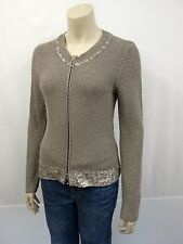 BETTY BARCLAY Strickjacke Gr.36 Cardigan Reißverschluss Lurex Pailletten Braun