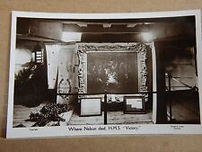 Postcard HMS Victory cabin Where Nelson Died Real photo  unposted.