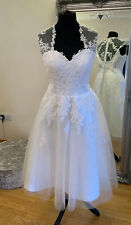 Bridal Gown/Wedding dress,Short Tea Length Lace /Tulle. Ivory,Size 16,Brand New