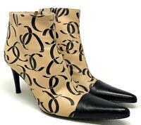 Authentic CHANEL Vintage Coco Mark Bootie Heels #38 US 7.5 Beige Black Rank AB