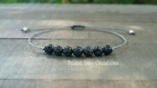Lava  rock string bracelet minimalist chakra jewelry yoga style bracelet