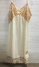 Vintage Slip Lace Trim Embroidered Hem Full Length Gold Beige Womens Size S
