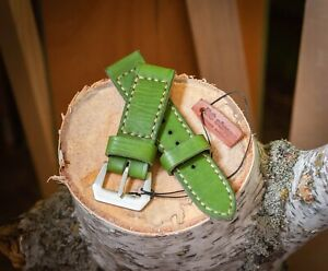 Handmade green leather strap for Panerai with GPF buckle 26mm, 24mm