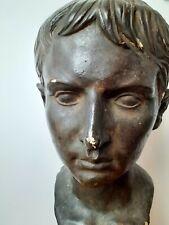 Vintage Sculpture Statue Augustus Caesar Garden Ornament Patio Decorative Bust