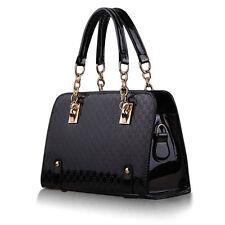 Femmes Sac à Main d'Epaule Bandoulière Fourre-tout Messenger Bag PU Cuir Noir