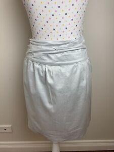 LUISA CERANO Size 12 AU / 44 IT Skirt Silver Metallic Mini Above Knee Designer