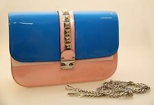 Serenade Patent Leather Medium Hand Bag With Tag Blue-pink-yellow in Colour