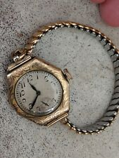 1923 Elgin Hunter Case Wrist Watch Rolled Gold Case by Illinios Watch Case Co