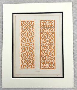 1859 Print Ornamental Fretwork Panels Decorative Detail Design Antique Original