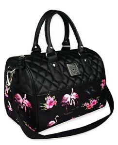 Liquor Brand Flamingos Black Shoulder Bag Pink Flamingos Hibiscus Flowers