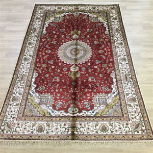 YILONG 5'x8' Red Handmade Classic Silk Area Rug Vintage Hand Knotted Carpet 068C
