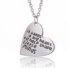 It Takes A Big Heart To Help Shape Little Minds Necklace Silver Teacher Gift UK